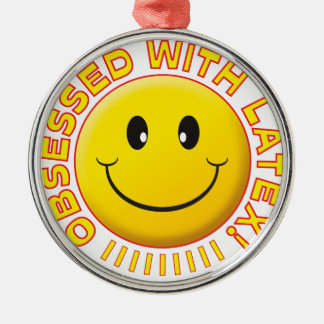 Latex Obsessed Smile Round Metal Christmas Ornament