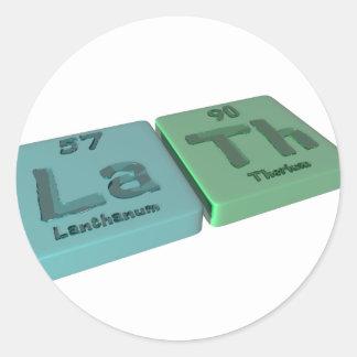 Lath as La Lanthanum and Th Thorium Classic Round Sticker