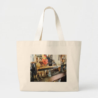 Lathe in Wood Shop Jumbo Tote Bag