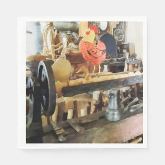 Lathe in Wood Shop Paper Napkin