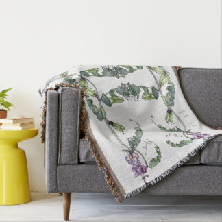 Lathyrus Vetch Pea Flowers Floral Throw Blanket