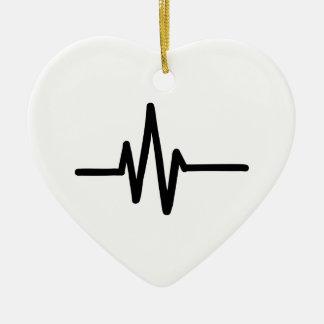 Latido del corazón del pulso de la frecuencia adorno de cerámica en forma de corazón
