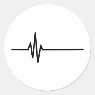 Latido del corazón del pulso de la frecuencia pegatina redonda