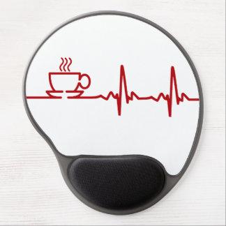 Latido del corazón EKG del café de la mañana Alfombrillas Con Gel
