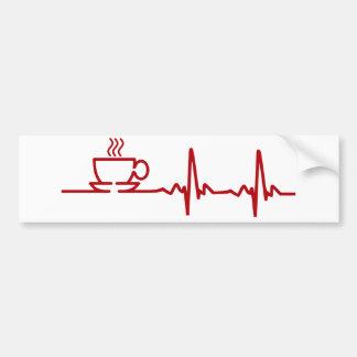 Latido del corazón EKG del café de la mañana Etiqueta De Parachoque