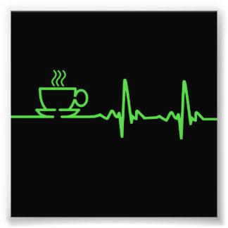 Latido del corazón EKG del café de la mañana Fotografías