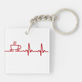 Latido del corazón EKG del café de la mañana Llavero Cuadrado Acrílico A Doble Cara