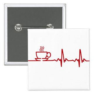 Latido del corazón EKG del café de la mañana Pin Cuadrado
