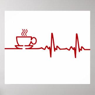 Latido del corazón EKG del café de la mañana Póster