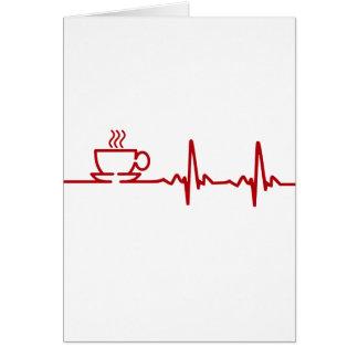 Latido del corazón EKG del café de la mañana Tarjetas