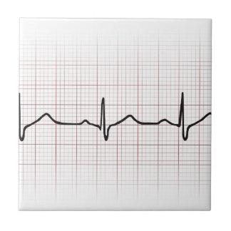 Latido del corazón en el papel cuadriculado, pulso azulejo cuadrado pequeño