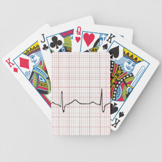 Latido del corazón en el papel cuadriculado, pulso baraja de cartas