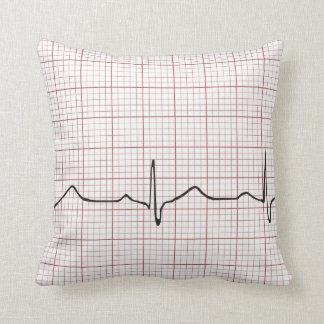 Latido del corazón en el papel cuadriculado, pulso cojin