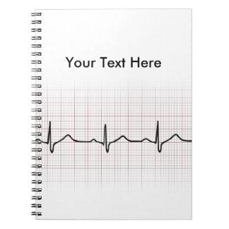Latido del corazón en el papel cuadriculado, pulso cuadernos
