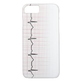 Latido del corazón en el papel cuadriculado, pulso funda iPhone 7