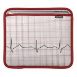 Latido del corazón en el papel cuadriculado, pulso fundas para iPads