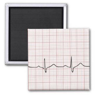 Latido del corazón en el papel cuadriculado, pulso imán cuadrado