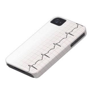 Latido del corazón en el papel cuadriculado, pulso iPhone 4 Case-Mate cobertura