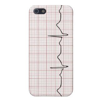 Latido del corazón en el papel cuadriculado, pulso iPhone 5 carcasa