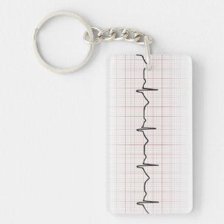 Latido del corazón en el papel cuadriculado, pulso llavero rectangular acrílico a doble cara