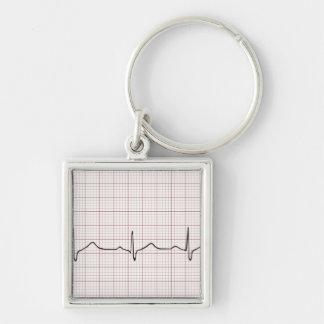Latido del corazón en el papel cuadriculado, pulso llavero cuadrado plateado