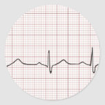 Latido del corazón en el papel cuadriculado, pulso pegatina redonda