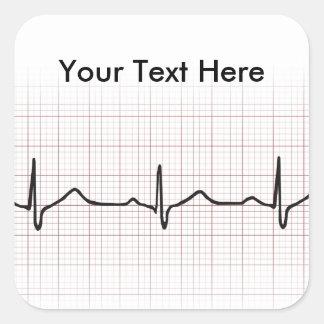 Latido del corazón en el papel cuadriculado, pulso pegatina cuadrada