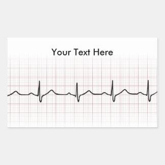 Latido del corazón en el papel cuadriculado, pulso pegatina rectangular