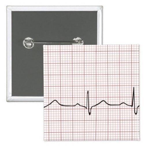 Latido del corazón en el papel cuadriculado, pulso pin cuadrado