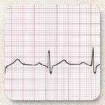 Latido del corazón en el papel cuadriculado, pulso posavasos