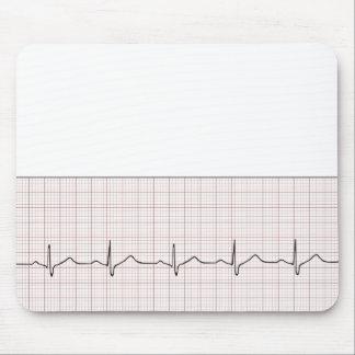 Latido del corazón en el papel cuadriculado, pulso alfombrilla de ratón