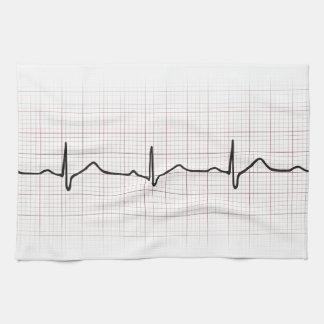 Latido del corazón en el papel cuadriculado, pulso toalla de cocina