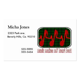 Latido del corazón musical tarjetas de visita