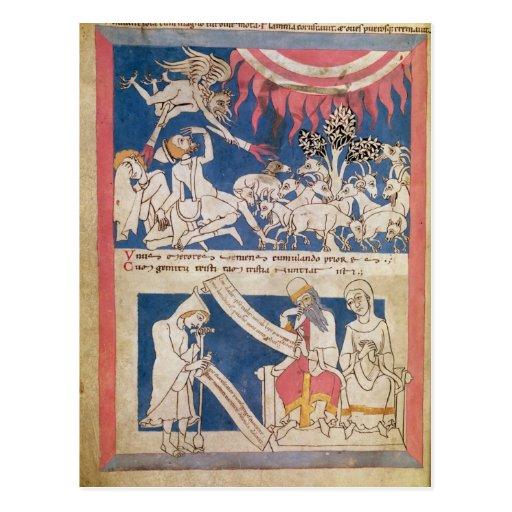 Latin 7253 15 675, f.4v: Job being tested by God Postcard