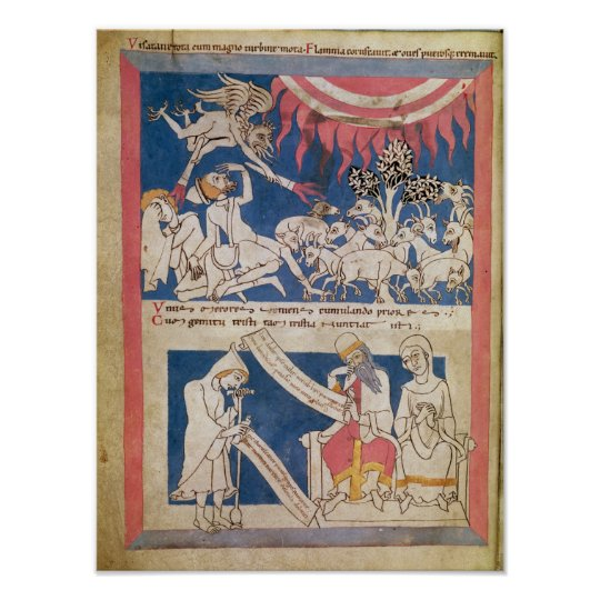 Latin 7253 15 675, f.4v: Job being tested by God Poster