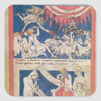 Latin 7253 15 675, f.4v: Job being tested by God Square Sticker
