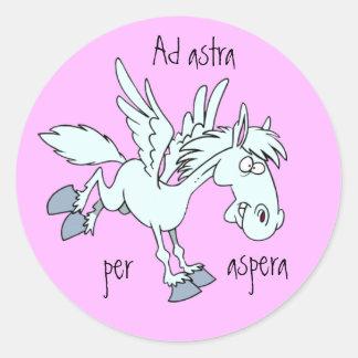 Latin: Ad astra per aspera Classic Round Sticker