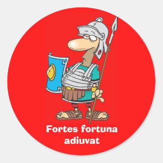 Latín: Adiuvat de Fortuna de los Fortes Pegatina Redonda