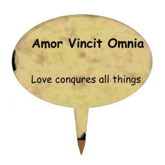 Latin Amor Vincit Omnia LOVE CONQUERS ALL THINGS Cake Picks