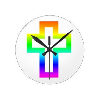 Latin (Christian) Cross Round Wallclock