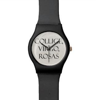 Latín Collige virgo cita del vintage del rosa de Relojes De Pulsera