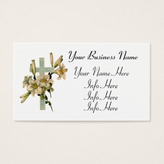 Latin Cross With Flowers Business Card