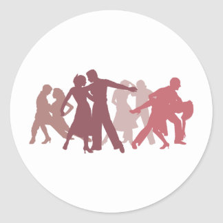 Latin Dancers Illustration Classic Round Sticker