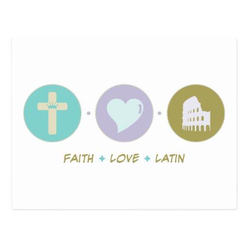 Latín del amor de la fe tarjeta postal