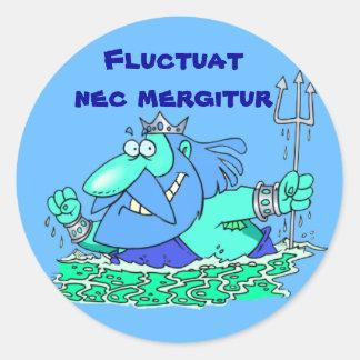 Latin: Fluctuat nec mergitur Round Stickers