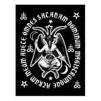 """Latin """"Hail Satan"""" Baphomet Postcard [Black]"""