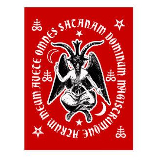"Latin ""Hail Satan"" Occult Baphomet Postcard [Red]"