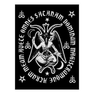 "Latin ""Hail Satan"" Occult Baphomet Poster [Black]"