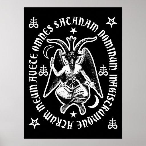 """Latin """"Hail Satan"""" Occult Baphomet Poster [Black]"""