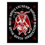 "Latin ""Hail Satan"" Occult Baphomet Poster [Red]"